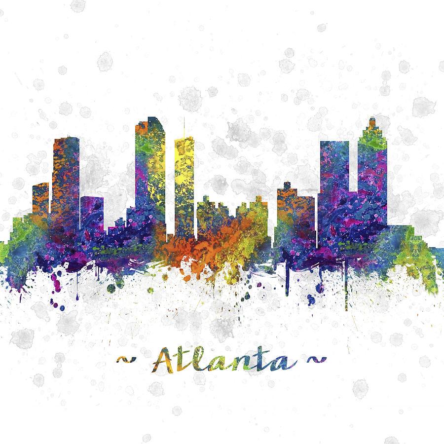 900x900 Atlanta Georgia Skyline Color 03sq Digital Art By Aged Pixel