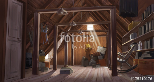 500x267 Drawing Of An Old House Attic Stock Photo And Royalty Free Images