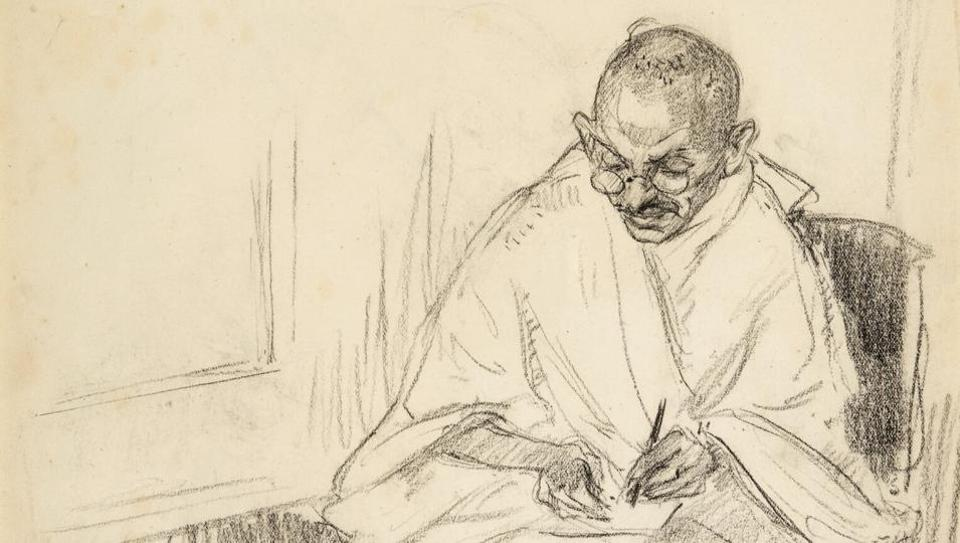 960x543 gandhi39s rare pencil portrait letters up for auction in uk