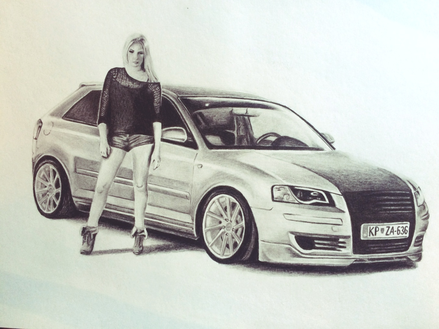 1440x1080 Audi A3 Drawing. Cars. Audi A3 And Drawings