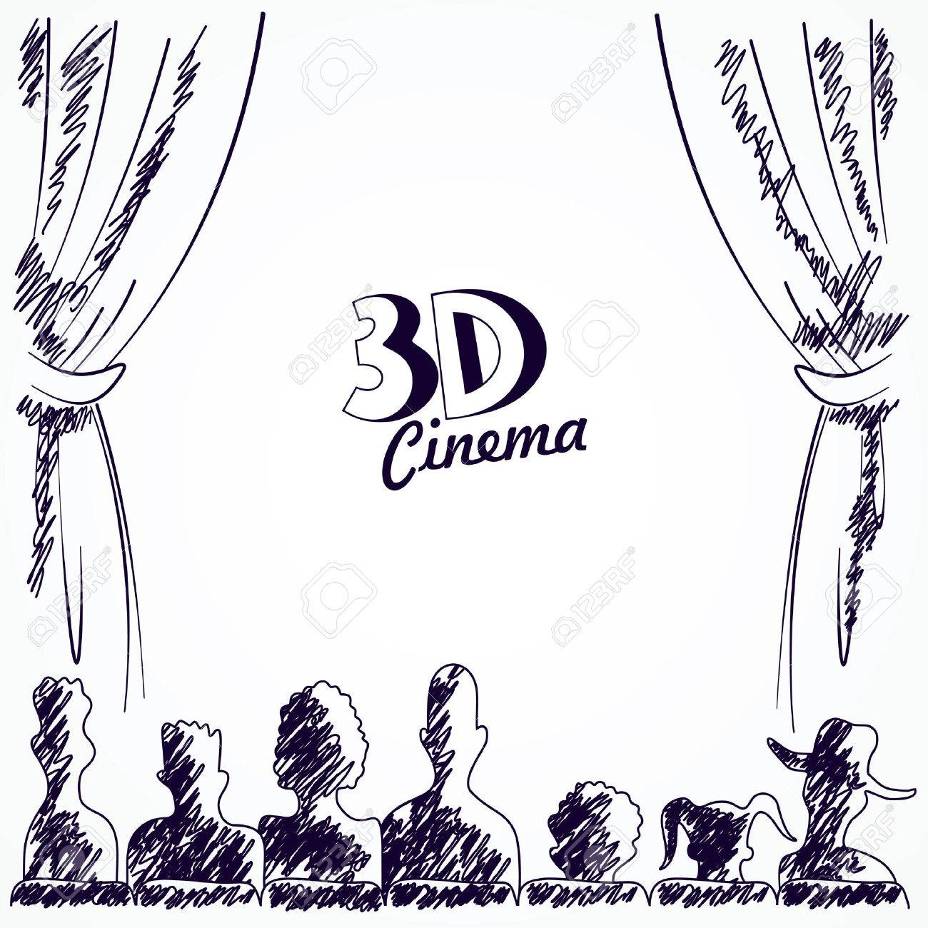 1300x1300 Cinema Audience Back View, Vector Illustration Royalty Free
