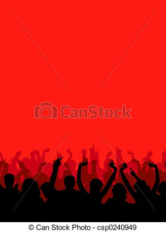 337x470 Silhouette Of An Audience With Arms Raised Stock Illustration