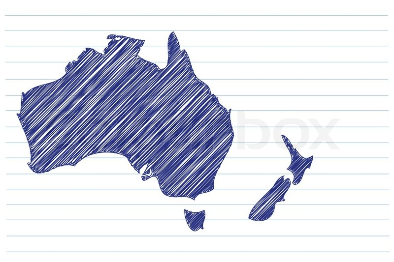 800x533 Scribble Sketch Of Australia Map On A Notepad Sheet Stock Vector