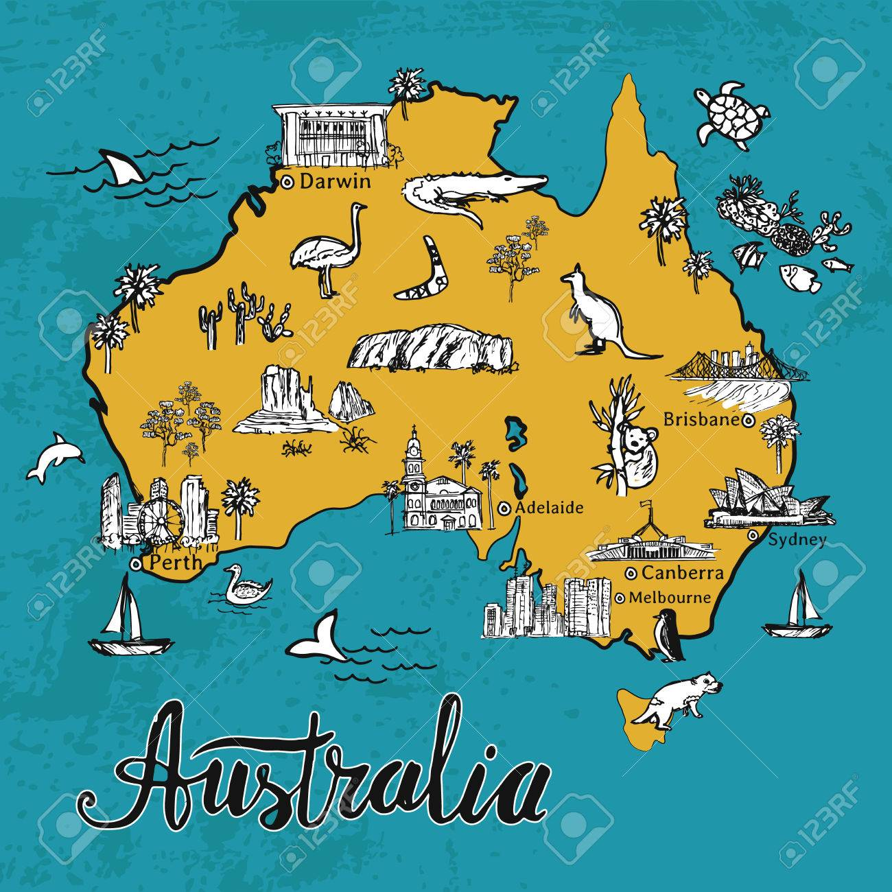 1300x1300 drawing australia vector map hand drawn map of australian