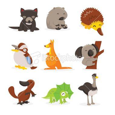 380x379 Cute Cartoon Australian Animals Icon Set Royalty Free Stock Vector