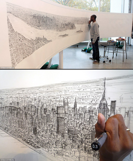 450x544 Autistic Artist Draws 18 Foot New York Panorama From Memory