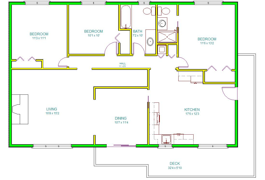 Autocad house drawing at free for for Cad drawing house plans