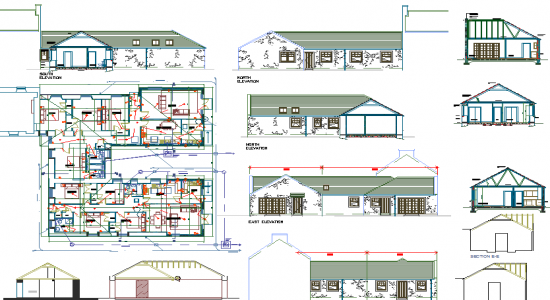550x300 Autocad File Single Storey House Plan