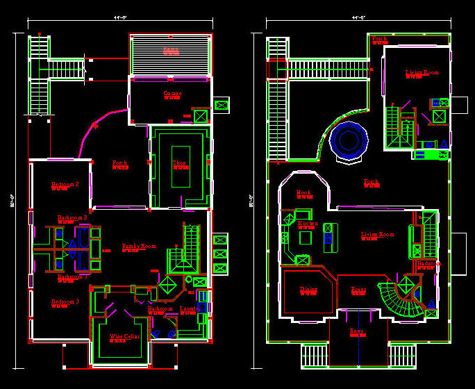 Autocad house drawing at free for for House plan cad file