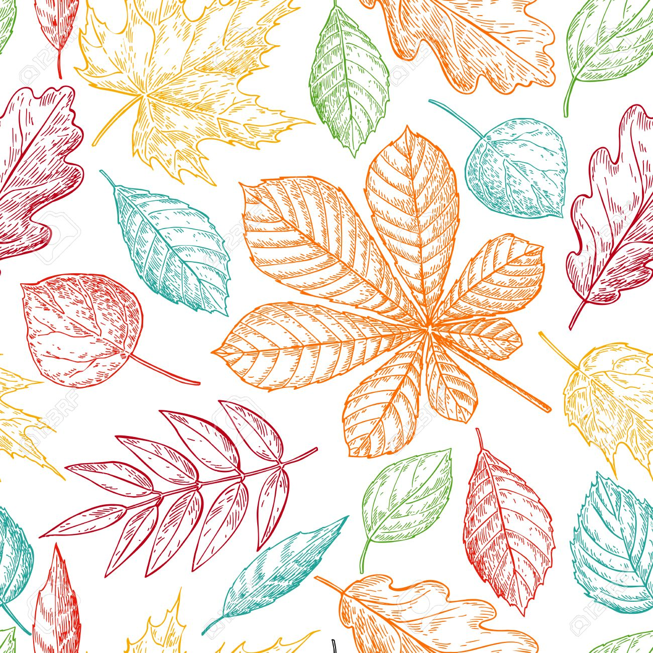 1300x1300 Seamless Vector Pattern With Colorful Autumn Leaves. Hand Drawn