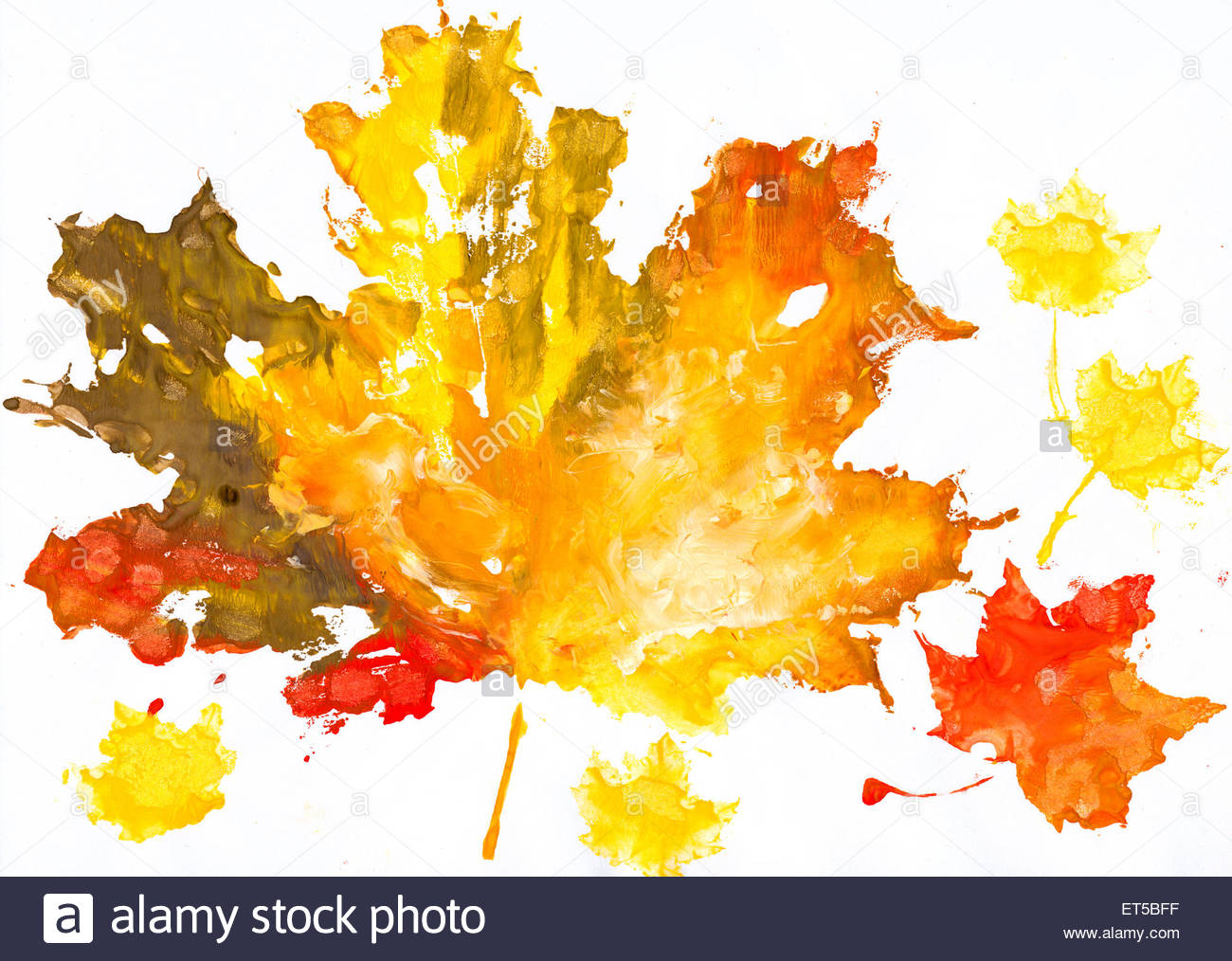 1300x1014 Autumn Leaves Watercolor Print On Paper. Child Drawing Stock Photo