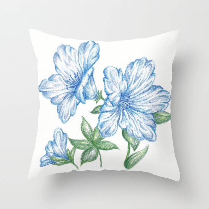 700x700 Flower Drawing Print Blue, Azalea Botanical Art Throw Pillow By
