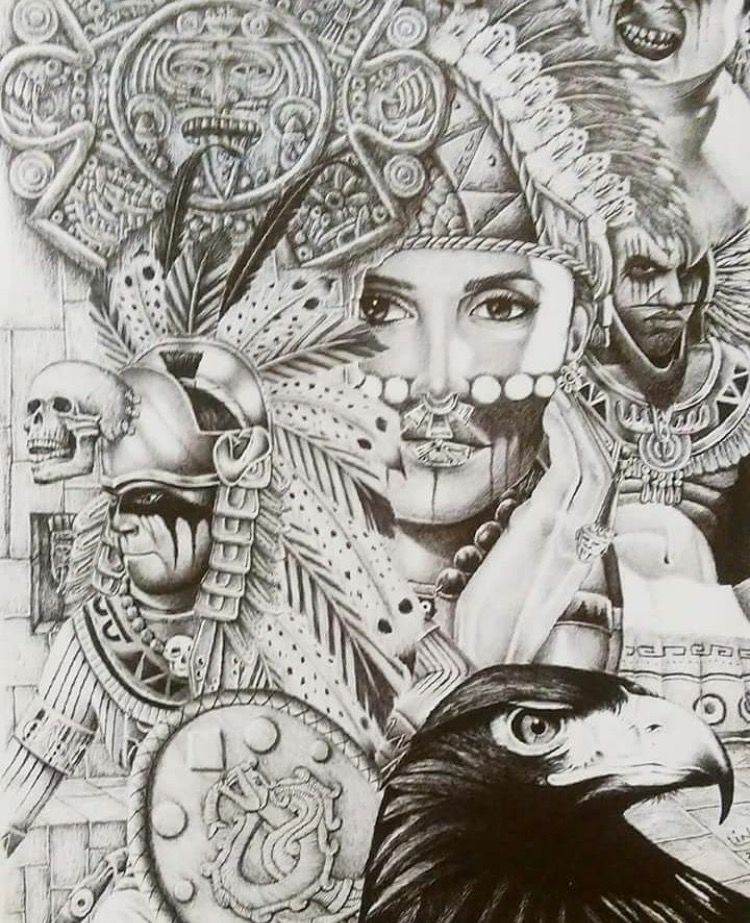 This is a photo of Breathtaking Aztec Princess Drawing