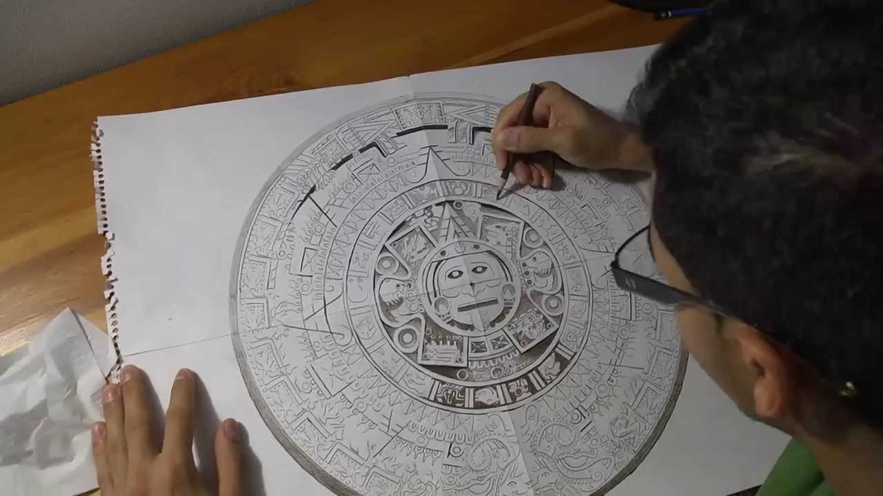 1280x720 Aztec Calendar Drawing Time Lapse