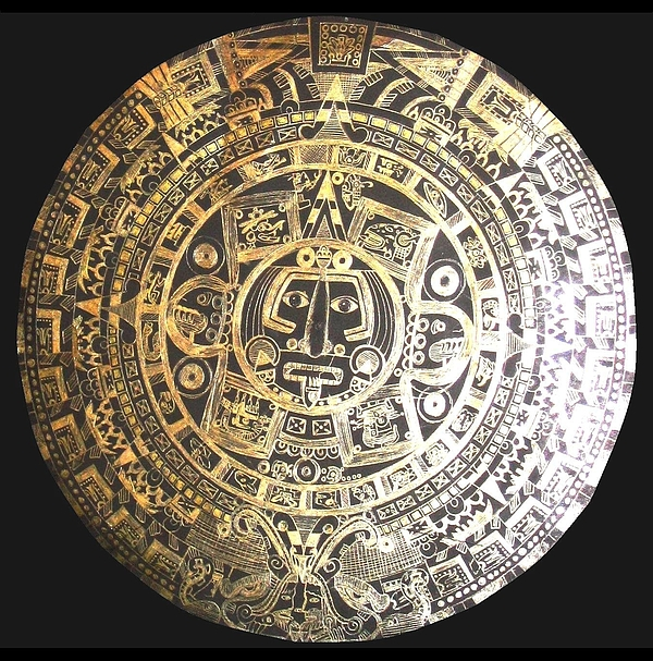 600x607 Aztec Calendar Drawing By Michelle Dallocchio