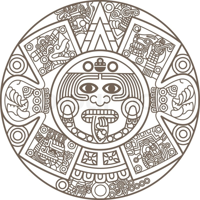 800x800 Stylized Aztec Calendar Vector Colourbox On Colourbox