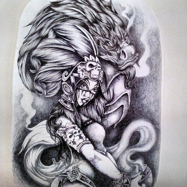 640x640 Aztec Warrior Princess Spiritual Dragon All Done With Pen