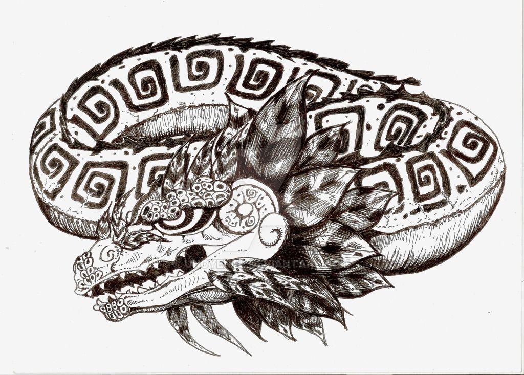 1024x733 Quetzalcoatl Dragon Tattoo Design By Unoyente Tattoos