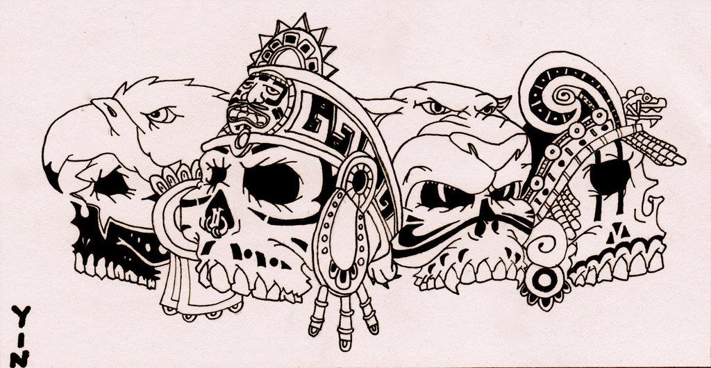 1024x530 Aztec Skulls By Jessicayin