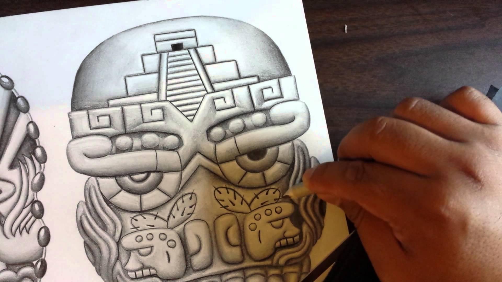 1920x1080 Drawing Aztec Skulls.