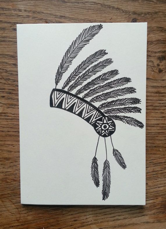 570x784 Aztec Feather Headdress Hand Drawn Cards Set By Lucieslittlecrafts