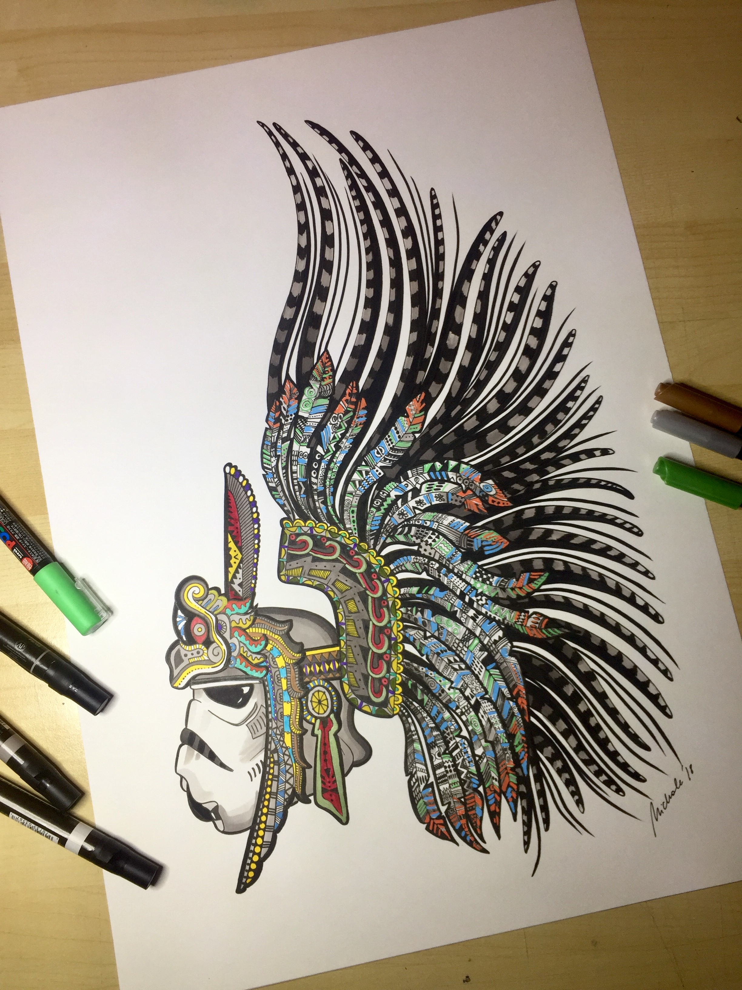 2448x3264 Aztec Headdress Stormtrooper Ink Work By Me