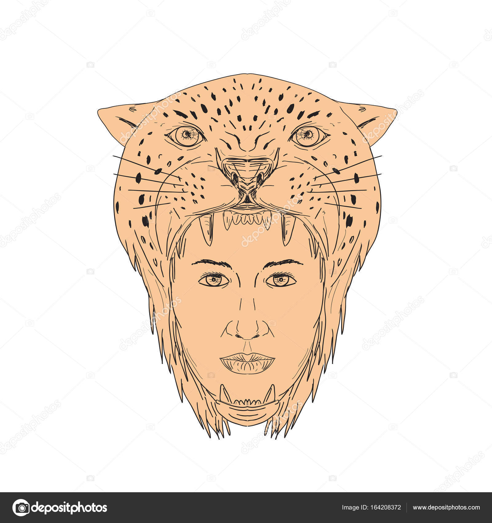 1600x1700 Female Aztec Warrior Jaguar Headdress Drawing Stock Vector