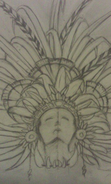 358x592 Mayan Headdress Sketch By Dmvcustomdesign