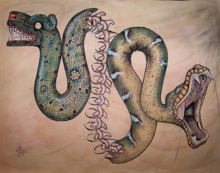 900x709 Aztec Inspired Two Headed Serpent By Hanbo Hobbit