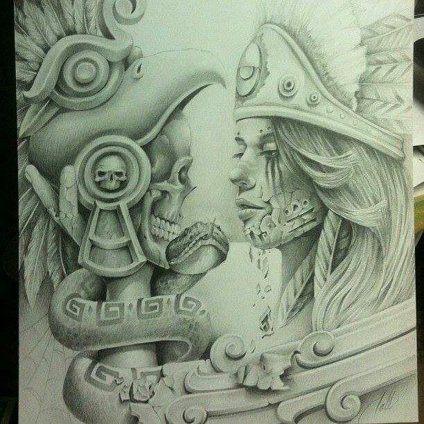 612x612 33 Best Aztec Skull Tattoos Designs Drawings Images