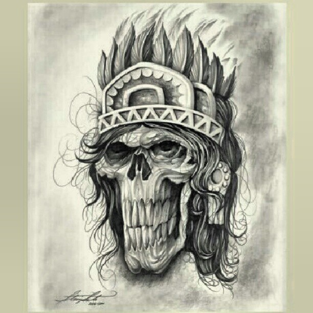 612x612 Aztec Drawings Very Cool Aztec Skull Warrior Drawing Picture