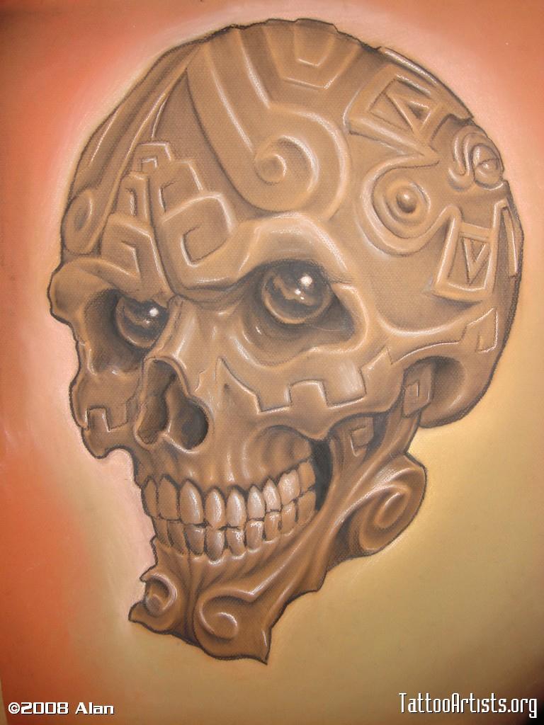 768x1024 Aztec Skull Drawings Aztec Skull