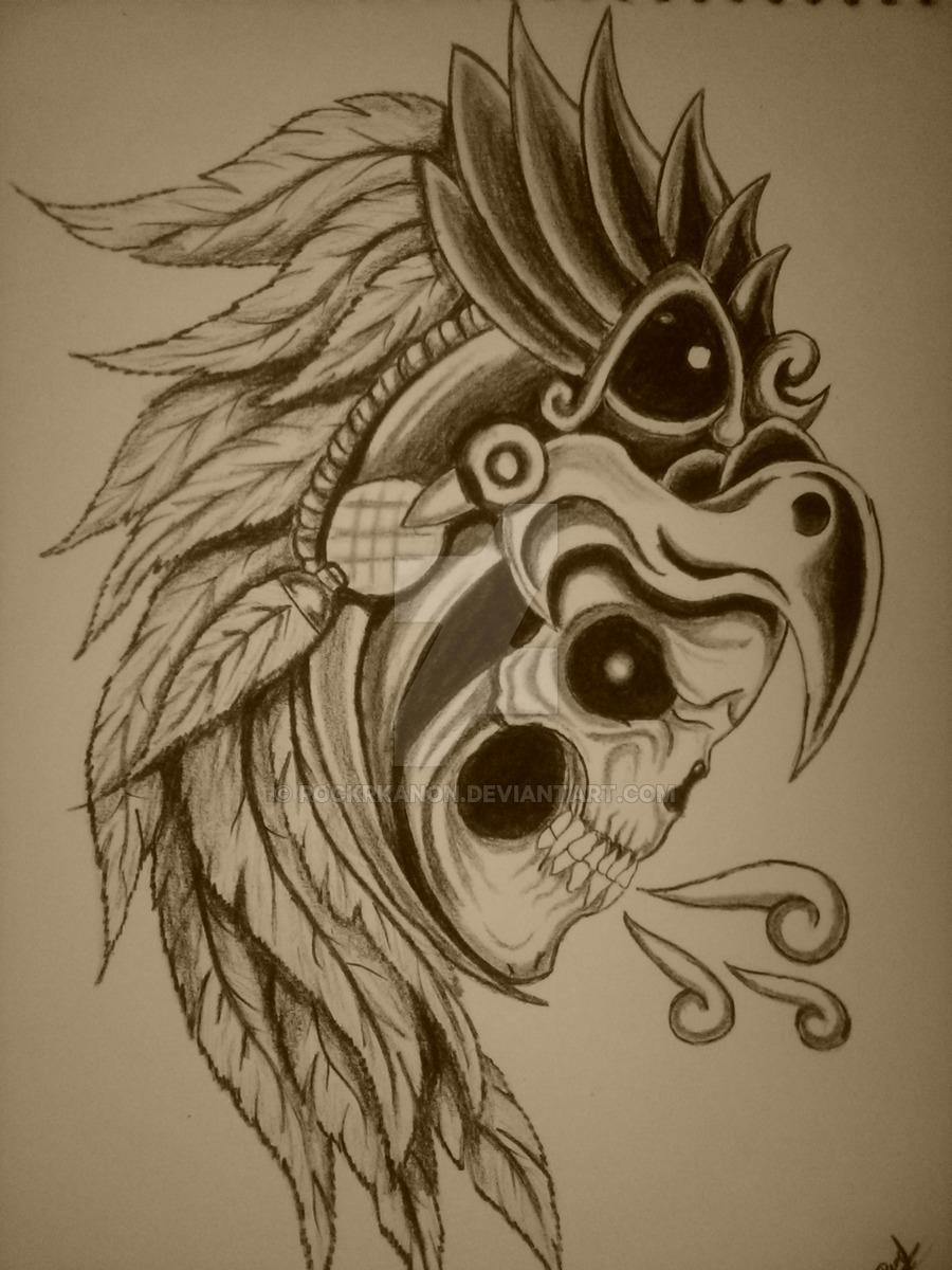 900x1200 Aztec Skull Drawings Caballero Aguila Skullrockrkanon