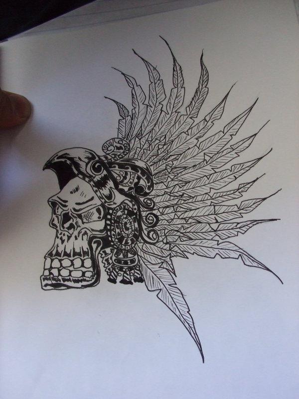 600x800 Aztec Skull By Naruneji