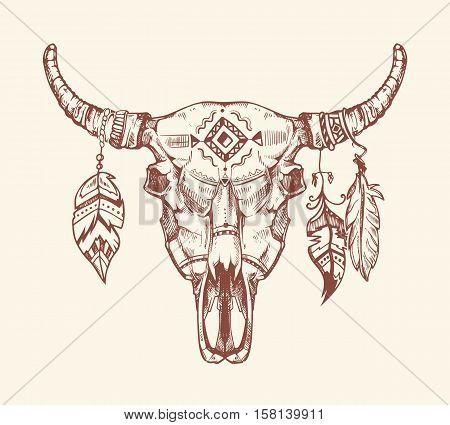 450x425 Aztec Tribal Buffalo Skull Vector Vector Amp Photo Bigstock