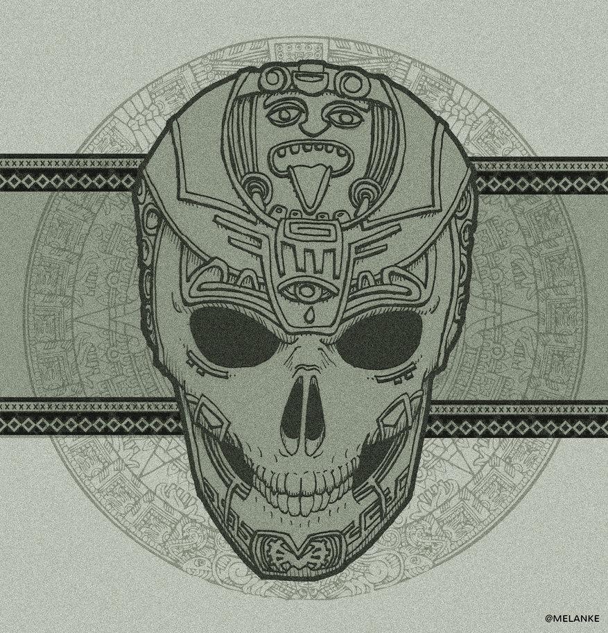 877x912 Aztec Skull By Melanke