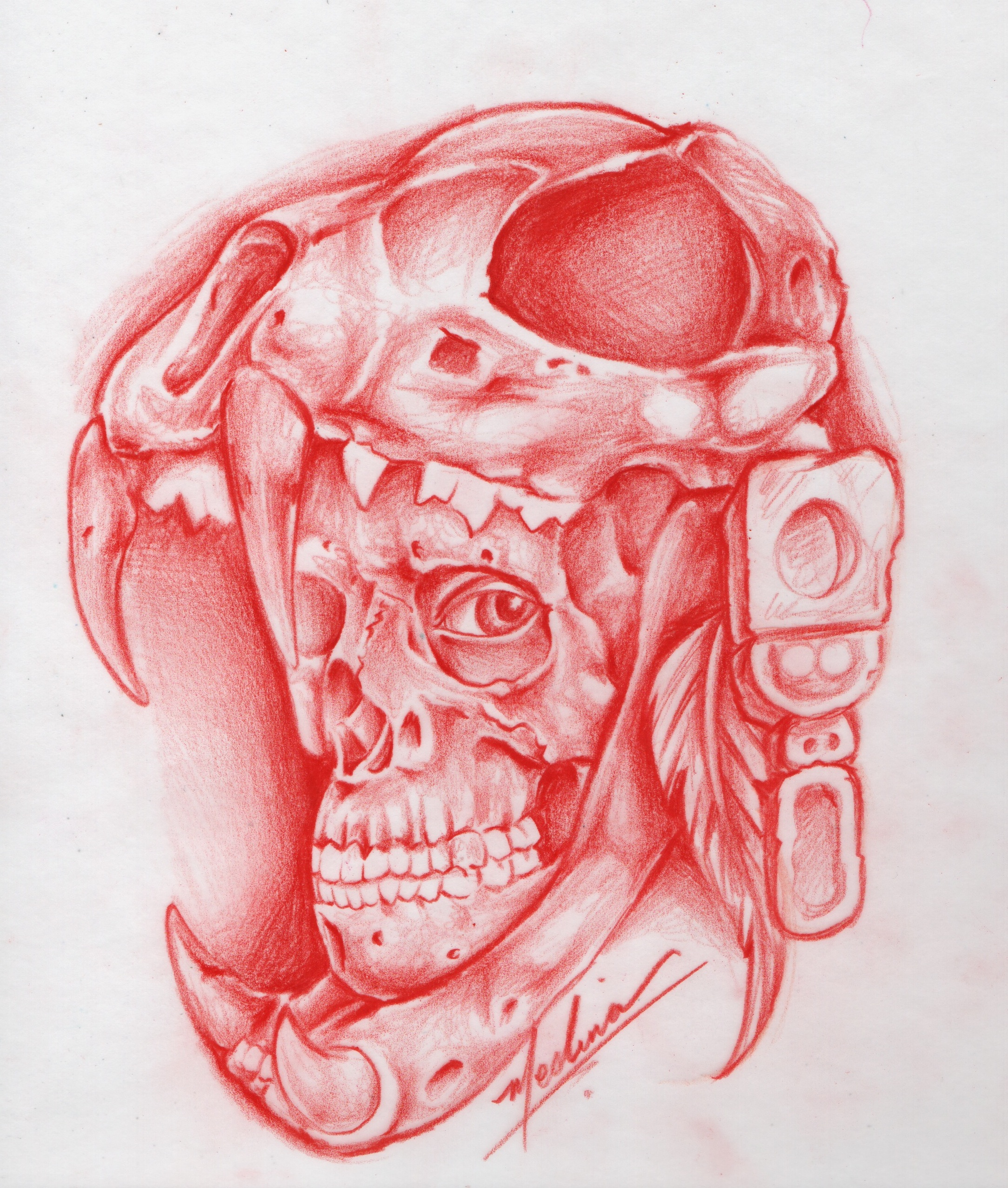 2167x2553 Drawing Of Aztec Warrior Aztec Warrior Skull Drawing Michael
