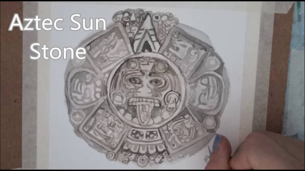 1280x720 Aztec Calendar Stone Speed Painting
