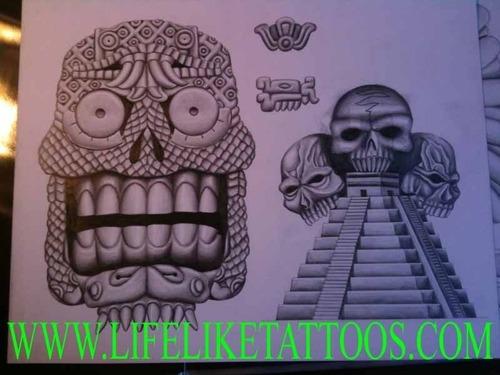 500x375 Aztec Temple And Symbols Of Aztec Calendar Tattoo Picture