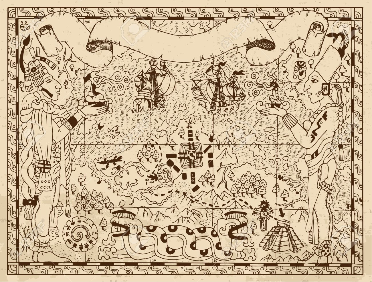 1300x987 Old Mayan, Aztec Or Pirate Map With Two Gods, Ships And Fantasy