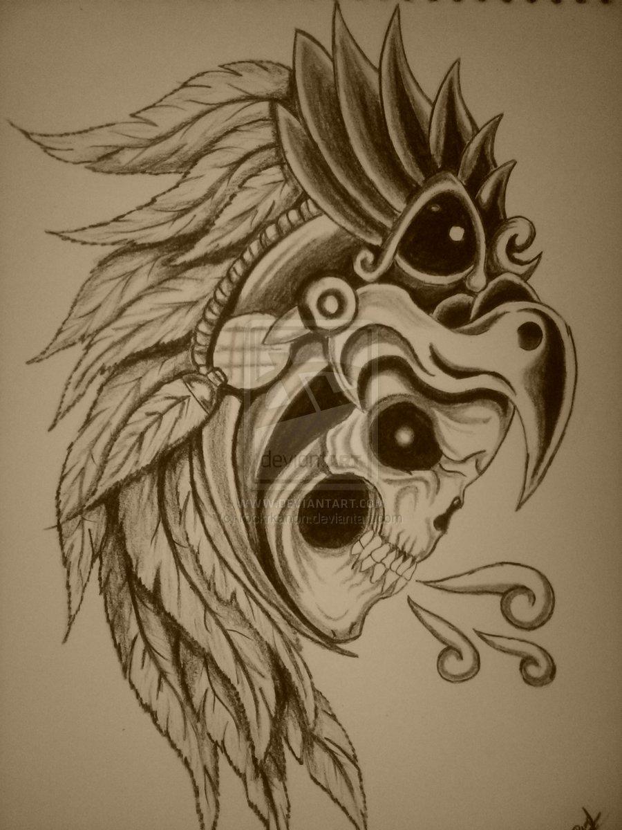 900x1200 Aztec Skull Warrior Drawing