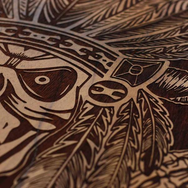 600x600 Carved Wooden Poster Aztec Warrior Large Wood Wall Art Wood