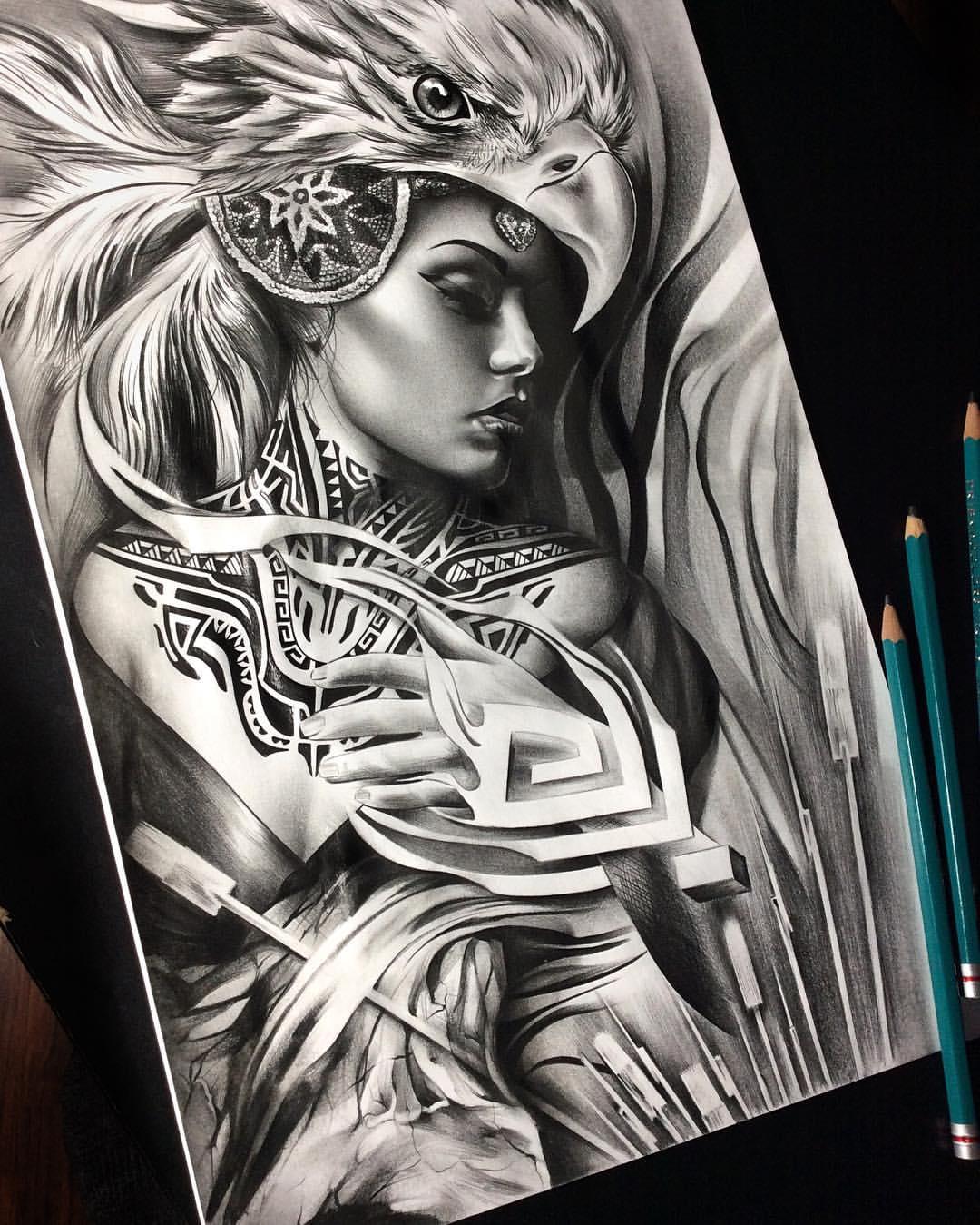 This is a photo of Magic Aztec Princess Drawing