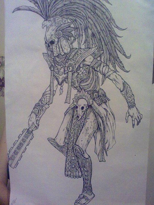 540x720 Undead Aztec Warrior By Poplooser
