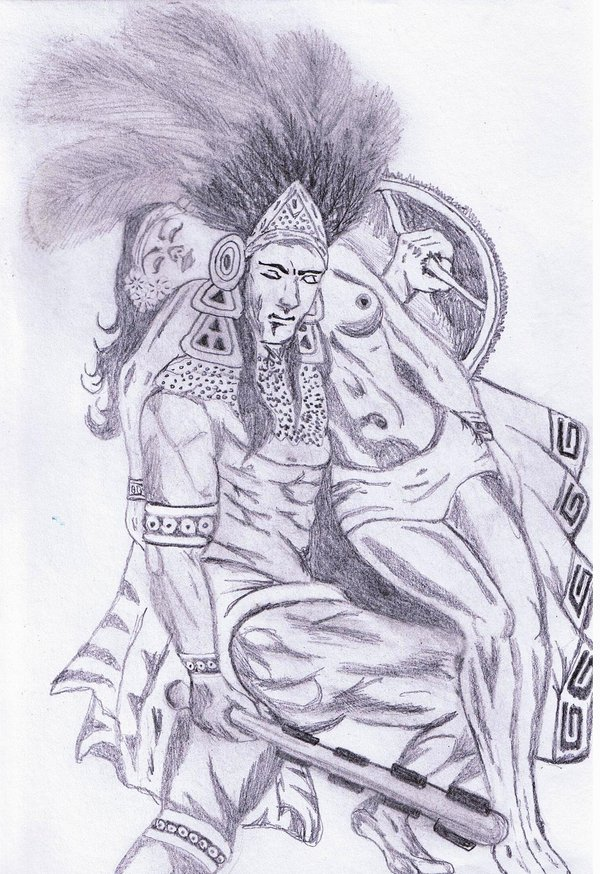 It is a picture of Clean Aztec Princess Drawing