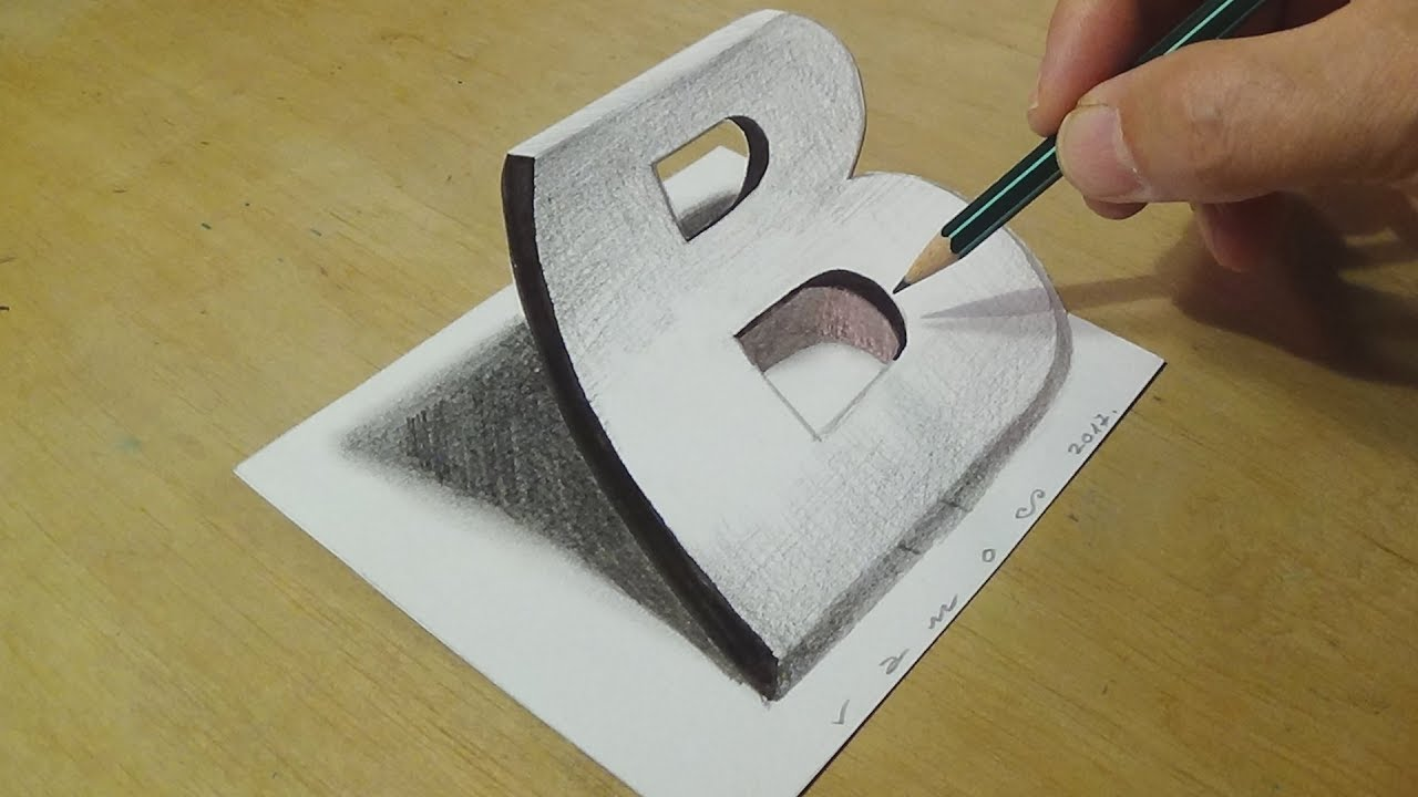 1280x720 Drawing 3d Letter B