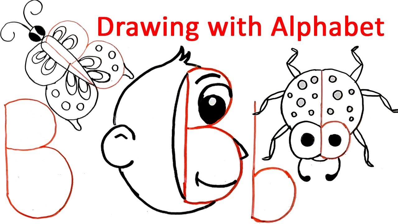 1280x720 How To Draw With Alphabet B Fun With Alphabet Drawing For Kids