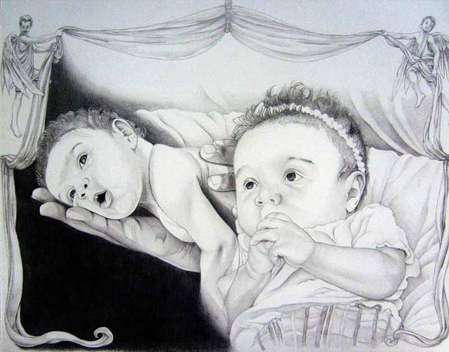 900x707 Baby And Angel Drawing By Timmy Jackson
