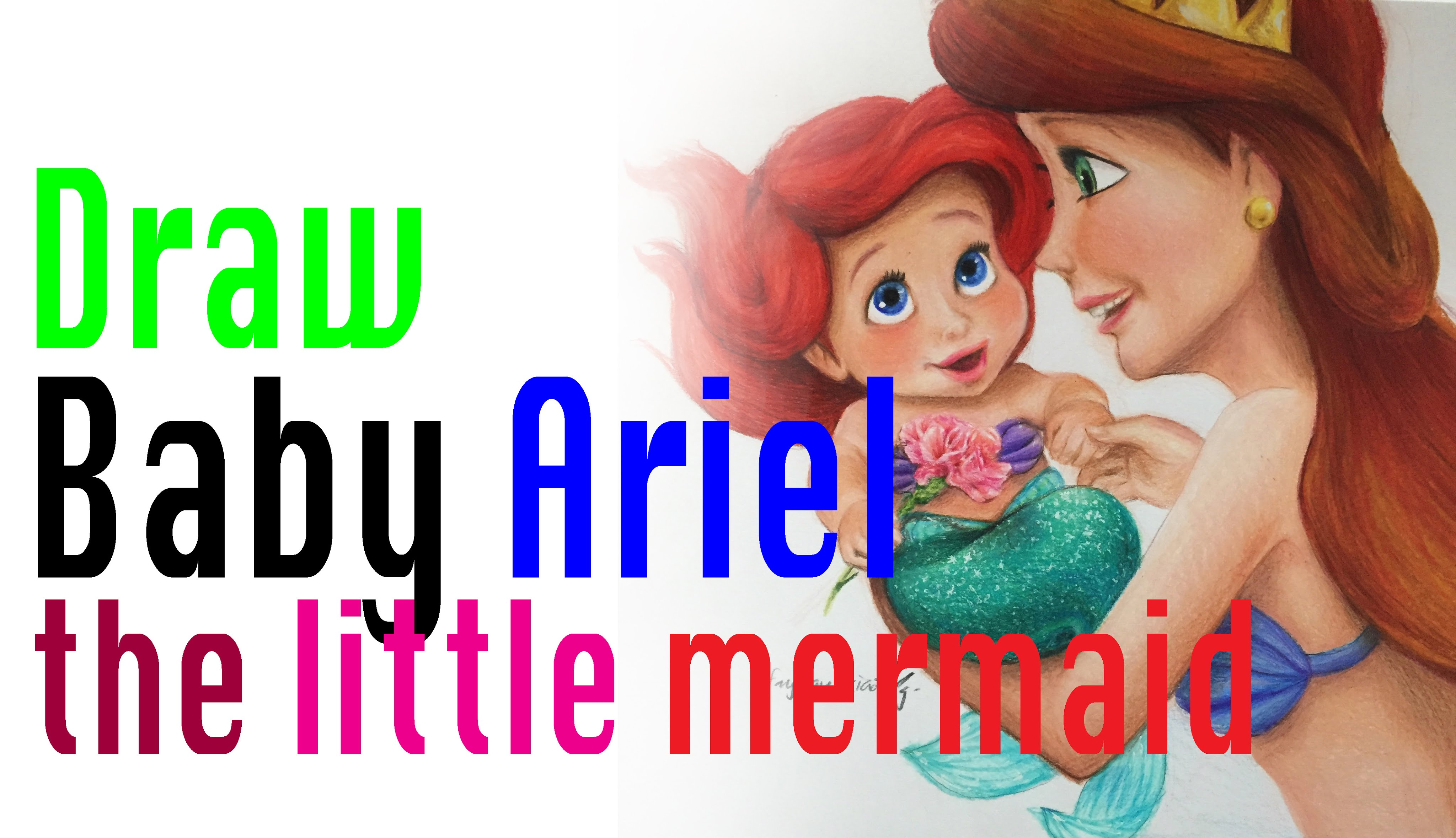 4096x2358 Speed Drawing Of Baby Ariel The Little Mermaid (Mother's Day