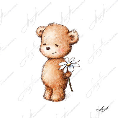 400x400 The Drawing Of Cute Teddy Bear With With Daisy. Printable Art.
